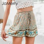 High waist elastic lace up floral print Bohemian shorts