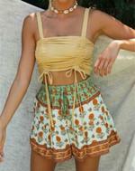 waist rayon Vintage floral print bohemian shorts