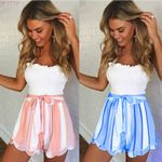 Ruffle Striped  Fashion High Waist Bow Tie Boho Short
