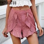 print high waist chiffon Dot ruffle casual boho shorts