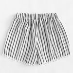 Casual Elastic Waist Stripe Brief Mid Waist Loose Boho Shorts