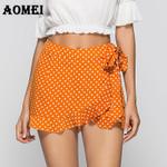 Wrap Polka Dot Waist Belt Casual Fashion Boho Shorts