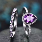 Luxury Wedding Water Drop  CZ Purple Boho  Rings