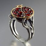 Vintage Stone Garnet Tree Vine Fashion Boho Ring