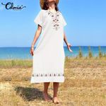 Loose Short Sleeve  Vintage Printed Casual Dress