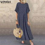 Round Neck  Loose Polka Dot Printed Casual  Dress