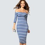 Casual Sheath Striped Pencil Sexy Slim  Bodycon Dress
