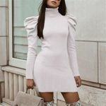 Sexy Knitted Puff Long Sleeve Sweater Bodycon Dresses