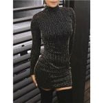 Sequined Long Sleeve Tassel Skinny Casual Sexy Bodycon  Dress
