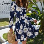 Casual long sleeve v neck a line Floral  dress