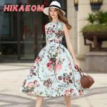 Elegant O Neck Rushed Pleated Sleeveless Floral Dress