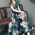 O-neck  Short Sleeve Bohemian  Floral Dress