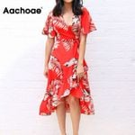 Beach Short Sleeve Elegant Floral  Dress