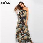 One Shoulder  3/4 Sleeve Floral  Dress