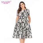 A Line Short Sleeve Slim  Elegant Floral Dress