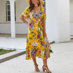 A-line Split Short Sleeve Elegant Retro Floral Dress