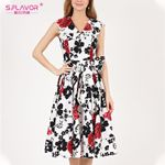 Print A Line Elegant Vintage Sleeveless V Neck Floral Dress