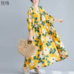 Swing  Print Cotton Linen Floral Dress