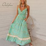 Sexy Spaghetti Strap Ruffle  Floral Long Boho Dress