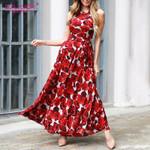 Fashion  Sleeveless  Vintage Floral Print Boho Dress