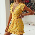 Strap Floral Ruffle Short Sleeve V-Neck Sexy Boho Dress
