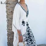 V Neck  Casual  Embroidery Cotton Boho Dress