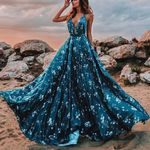Sleeveless  Long Formal Chiffon Floral Boho Dress