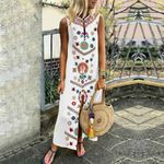 Elegant  Floral  Sleeveless Split Long Boho Dress