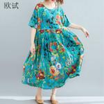 Floral Cotton Casual Loose Boho  Dress