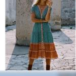 Casual Loose   Floral Deep V-Neck Short Sleeve Boho Dress