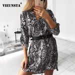 V-neck Shirt Snake Print  Long Sleeve  Dress