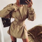 Vintage lace up Fashion sexy Long sleeve dress