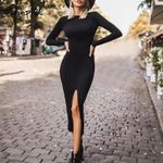 Backless Sexy  Elegant  o-neck long sleeve dress