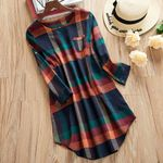 Retro Plaid O-neck  Bow Casual Long Sleeve Dresses