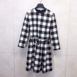 Elegant Plaid O-neck Long Sleeve Dress