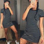 Stripe Slim  Short Sleeve Mini Dress