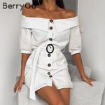 Casual off shoulder  chic straight Sexy single breasted mini dress