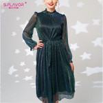 Vintage Mesh  Fashion Long Sleeve Turtleneck  Shiny Midi Dress