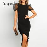 Vintage puff sleeve split  High waist  midi dress