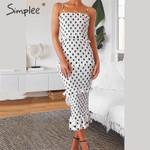Sexy spaghetti strap  Elegant dot print leopard  midi dresses