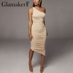 One shoulder sexy club  high waist elegant midi dress