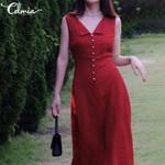 Casual Loose V-neck  Sexy Sleeveless Polka Dot Printed Midi Dress