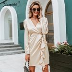 Sexy v neck satin ruffle Vintage puff sleeve midi dress