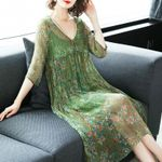 Elegant V Neck  Silk  Floral Midi Dresses