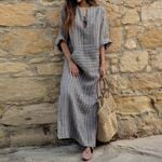 Vintage Striped Casual V Neck Long Sleeve  Maxi Dress