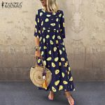 Casual 3/4 Sleeve Tunic  Printed Fashion Maxi Dress