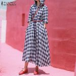 Hooded  Plaid Check  Casual Pockets Long Maxi Dresses