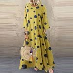 Casual O-Neck Long Sleeve Dots Loose  Maxi Dress