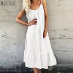 Casual Sleeveless Ruffled Cotton Linen Long Maxi Dress