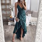 Plunging V Neck Ruffles Hem Satin Slip Sexy Dress